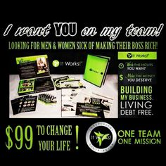 I am looking for ten (10) motivated men and women to join my team and start making the money you deserve! It Works has products from wraps (face and body), defining gel, joint care, colon care, menopause care to energy boost!