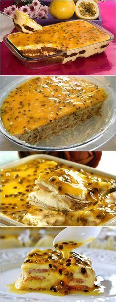 UMA AMIGA FEZ ESSA SOBREMESA E EU AMEI..SIMPLESMENTE DELICIOSA!! VEJA AQUI>>>Levar ao fogo em uma panela os ingredientes da cobertura.Deixar até engrossar,mexendo.Esfriar. Colocar no fundo de um refratário o bolo fatiado,despejar o creme de maracujá morno. #receita#bolo#torta#doce#sobremesa#aniversario#pudim#mousse#pave#Cheesecake#chocolate#confeitaria New Recipes, Sweet Recipes, Cooking Recipes, Favorite Recipes, Desserts Around The World, Portuguese Recipes, Pastry Cake, Cooking Time, Food Porn