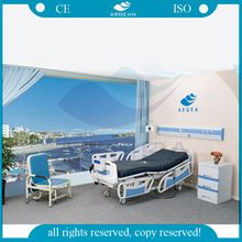 AG-BY003C China cheap ABS bedboard linak motor medical five functions used hospital bed for sale price