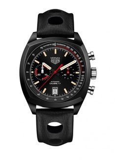 """The @tagheuer Monza features a cushion-shaped titanium carbide coated case made from grade 5 titanium, it measures 42 mm in diameter and comes equipped with TAG Heuer's """"super racing"""" strap in full-grain black calfskin with top-stitching.  This watch holds the automatic Caliber 17.  More @ http://www.watchtime.com/wristwatch-industry-news/watches/return-of-the-monza-tag-heuer-reissues-its-iconic-racing-watch/ #tagheuer #watchtime #chronograph #Baselworld2016"""