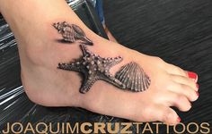 Realistic Grey Color Starfish With Seashell And Conch Tattoo On Foot – foot tattoos for women Tattoo Cover, Piercing Tattoo, Get A Tattoo, Piercings, Tattoo Small, 3d Tattoos, Trendy Tattoos, Cool Tattoos, Arabic Tattoos