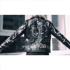 Biker jacket Faux leather leather look biker jacket in Painted Leather Jacket, Men's Leather Jacket, Biker Leather, Leather Coats, Painted Jeans, Painted Clothes, Hand Painted, Custom Leather Jackets, Custom Jackets