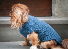 Winter warm blue handmade wool knit sweater made by Barabilishop, €30.00