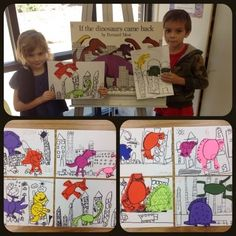 Kindergarten artists use dinosaurs and prehistoric art during several projects throughout the...
