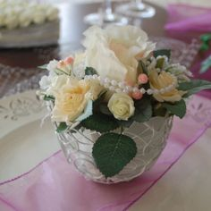 Tischgesteck Blumen im Topf Hochzeit Blumengesteck