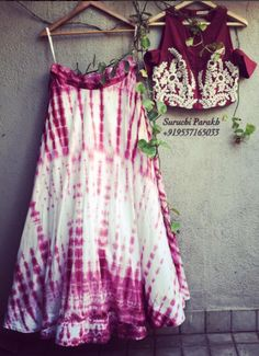 Lovely Tie and dye skirt with embroidered off shoulder top by Suruchi Parakh