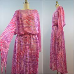 Vintage I. Magnin Pink Silk Maxi with Bell Sleeves One Size