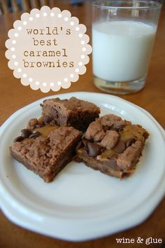 The World's Best Caramel Brownie Recipe!! Recipe calls for 1 1/2 sticks of butter, but I only used 1 stick and it was great!