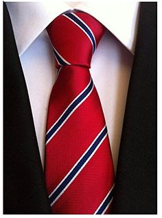 Buy New: $15.31 - Allbebe Men's Classic Red Blue Striped Jacquard Woven Silk Tie Formal Necktie