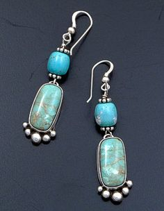 Navajo - Carico Lake Turquoise Bead & Stone Sterling Silver Dangle Earrings #40582 $80.00