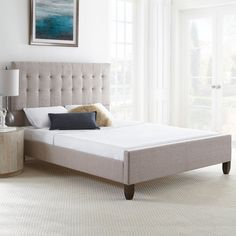 Boyd Sleep Baxter Upholstered Platform Bed Frame with Headboard and Footboard: Tufted Linen, Taupe, Queen Bed Frame And Headboard, Upholstered Bed Frame, Diy Bed Frame, Upholstered Platform Bed, Headboards For Beds, Queen Platform Bed, Platform Bed Frame, Panel Bed, Queen Beds