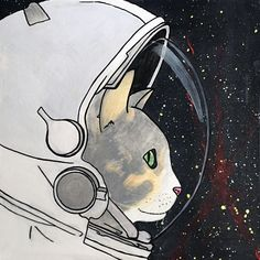 """Space Cat, acrylic, 20"""" by 20"""" canvas   medium contemporary pop art painting by artist Liz Kelly Zook   wall art, stretched canvas, stretched canvas wall art, painting, pop art painting, contemporary pop art painting, colorful art, pop painting, home decor, nashville, pop artist, female pop artist, contemporary artist, paintings, nashville, space cat, space, astronaut, astronaut cat"""