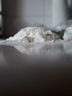 Flour on the kitchen table.