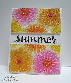 Fusion BrightFloral - Darice embossing folder Bold Daisy sponged with distress inks.