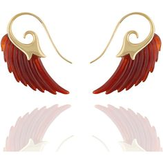 Noor Fares Wing Earrings With Cornelian Yellow Gold ($2,760) ❤ liked on Polyvore featuring jewelry, earrings, 18k jewelry, 18 karat gold jewelry, yellow gold earrings, wing jewelry and 18k earrings