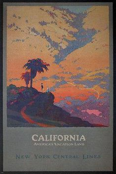 Vintage Travel Poster California America s Vacationland New York Central Lines This poster is printed using only genuine inks on premium heavy weight Old Poster, Retro Poster, Poster Vintage, Vintage Films, Vintage California, Southern California, California Vacation, Framed Canvas Prints, Vintage Travel Posters