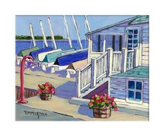 """""""Ephraim Yacht Club"""" reproduction print of an acrylic painting by Barb Timmerman."""