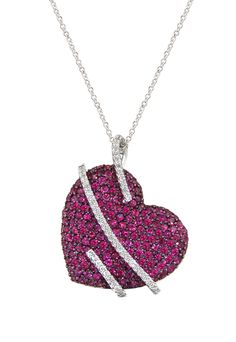 See details here:Effy Jewelry Heart Necklace with Ruby and Diamonds, 4.51 TCW