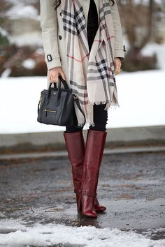 Coat: Burberry via Saks   Scarf: Burberry via Saks   Turtleneck: Vince   Jeans: Citizens (similar style here)   Boots: Tory Burch   Bag: Celine (love this style – under $200!)   Sunglasses: Tom Ford …. Over the weekend we got a mixture of rain and snow and it was super cold! Even though I don't always love the cold temps I do [&hellip