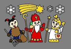 Mikuláš, čert a anděl What a nice Czech tradition. Draco, Bowser, Snoopy, Traditional, Advent, Cards, Fictional Characters, Dragonair, Maps