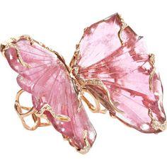 Lucifer Vir Honestus Pink Tourmaline Double Butterfly Ring $25,360 - barneys.com