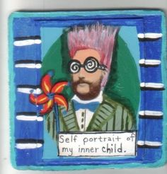 My Inner Child small US original outsider artist brut original wood painting #Outsider