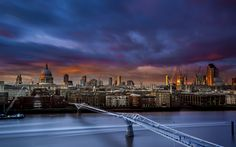 Download wallpapers Millennium Bridge, London, City panorama, England, evening, sunset, St Pauls Cathedral, River Thames