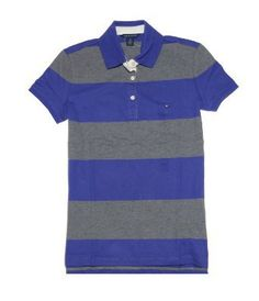 Tommy Hilfiger Women Wide Stripes Stretch Logo Polo T-Shirt