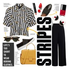 Never Bored... by clovers-mind on Polyvore featuring Topshop, Marni, Bobbi Brown Cosmetics, NARS Cosmetics, Chanel, Butter London, WorkWear, stripes, 2016 and Wintertospring