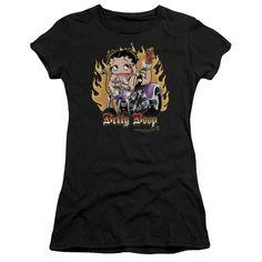 Betty Boop: Biker Flames Boop Junior T-Shirt