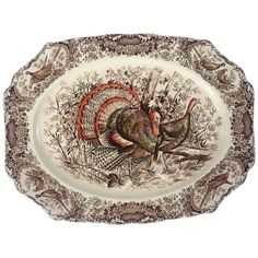 For Sale on - A large vintage serving platter featuring the Wild Turkey, Native American brown and white transfer-ware pattern by the celebrated English pottery firm, Johnson Brothers China, Johnson Bros, Antique Dishes, Vintage Dishes, Turkey Plates, Turkey Dishes, Vintage Thanksgiving, Thanksgiving Dinnerware, Thanksgiving Platter