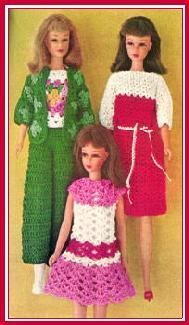 Several knit and crochet patterns for Barbie clothes...not just these three...