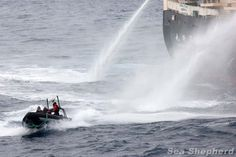 Nisshin Maru fires water cannons at  Sea Shepherd's Delta boat as the whaling fleets attempts to refuel are thwarted. Operation Zero Tolerance, 2012-13.