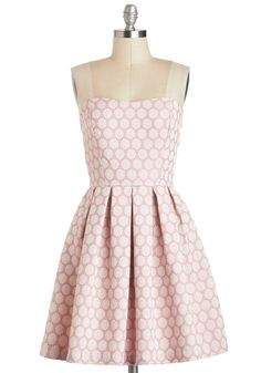 My Favorite Macaron Dress - Pink, Tan / Cream, Polka Dots, Lace, Daytime Party, Strapless, Sweetheart, Mid-length, Pleats, Fit & Flare