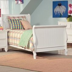 Summer Breeze Sleigh Bed only in a wood stain would be nice - Kids Beds at Kids Furniture Mart