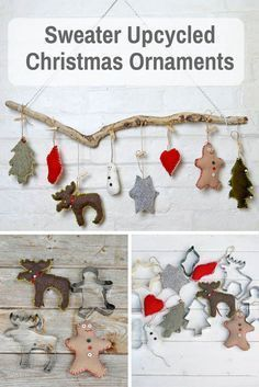 Cute Sweater Upcycled Christmas Ornaments These are super cute easy to make upcycled Christmas ornaments. Made with old sweaters and cookie cutter shapes. Source by acraftedpassion Handmade Christmas Decorations, Diy Christmas Ornaments, Christmas Projects, Holiday Crafts, Whimsical Christmas, Map Decorations, Christmas Ideas, Handmade Christmas Crafts, Easy Ornaments