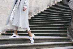 puma sneakers Skirt And Sneakers, Puma Sneakers, H&m Trends, Metallic Skirt, Primark, Normcore, Turtle Neck, Coat, Skirts