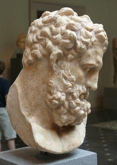 Hercules (Heracles), head, Roman statue (marble) copy, 1st century AD (original 4th c. BC), (Metropolitan Museum of Art, New York).