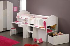 Parisot FR - Alice Mid Sleeper Cabin Bed With Optional Storage Mid Sleeper Cabin Bed, Girls Furniture, Daughters Room, Desk Storage, New Beds, Kid Spaces, Kids Bedroom, Kids Rooms, Decoration