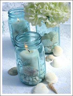 Blue Mason Jars, Candles, Shells & Hydrangeas - Beach Wedding Centerpieces by Amy56