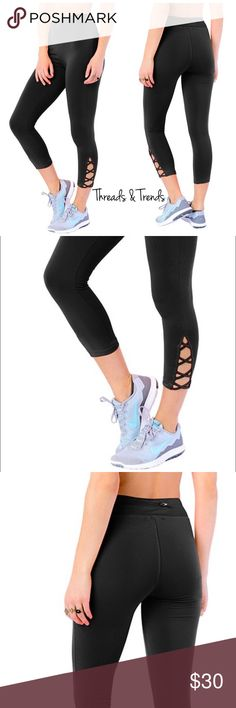 Capri Lattice Activewear Legging Inspiration style from famous brand name Athleta. Now at a affordable price. Right on trend black Capri leggings with lattice detail. Zipper pocket on back waistband. Made of poly/spandex blend. Size S, M, L Threads & Trends Pants Capris