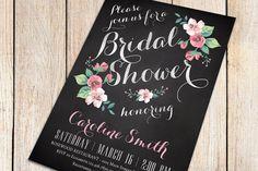 Printable Bridal Shower Invitation chalkboard by plpapers on Etsy