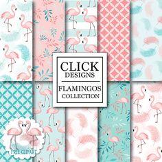 Flamingo Digital Paper: FLAMINGOS birds in pink door ClickDesigns