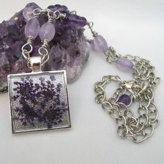 Purple Pendant Dried Flowers with Amethyst £15.95