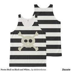 Pirate Skull on Black and White Striped Tank Top All-Over Print #tlapd