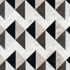 Arbus stone mosaic, shown in polished Socorro Grey, Nero Marquina, Carrara, and honed Cavern Bedroom Flooring, Grey Flooring, Stone Flooring, Floors, Foyer Flooring, Ceramic Flooring, Farmhouse Flooring, Terrazzo Flooring, Linoleum Flooring