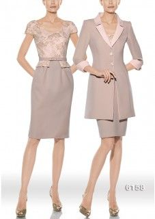 Vestido para madrina modelo 6158   colección 2014 Teresa Ripoll   realizado en triacetato y blonda color nude y rosa palo   abrigo a juego