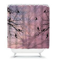 Bird Silhouette Trees Shower Curtain Serenity by FolkandFunky