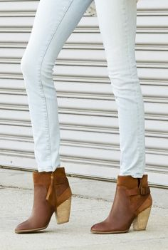 Cognac leather & suede booties with stacked heels and a cool side buckles