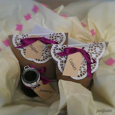 Kraft Paper bags with doilies and beautiful ribbon <3